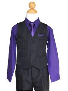 Pinstripe Boys Vest Suit Set,Black//Turquoise,Size 2T to 14