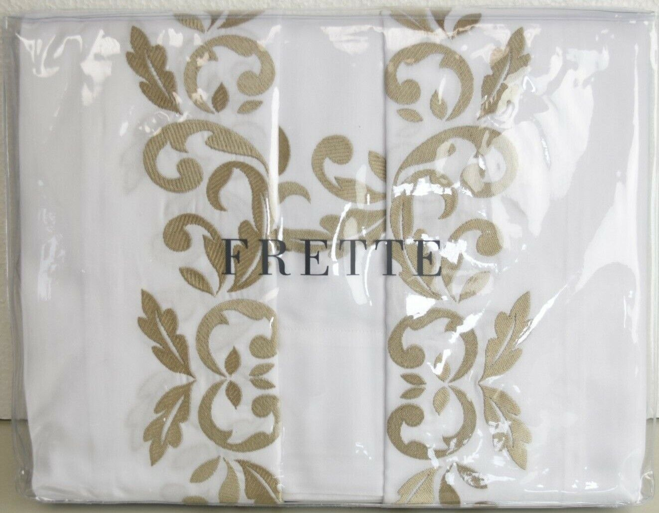 NEW FRETTE Carrara SHEET Cases 4 PC Bed SET Weiß Embroidery Beige  KING QUEEN