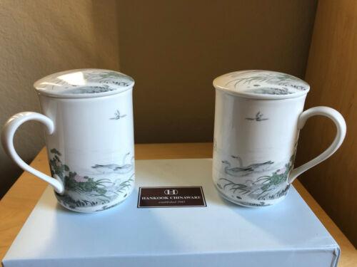 NIB HANKOOK Tea Mug Set w//Lids Fine Bone Chinaware Ceramics Coffee Swans on Lake