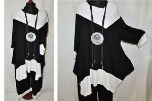 Lagenlook Oversize-Tunik<wbr/>a-Shirt Jersey Carmenkragen schwarz-weiß XL,2XL,3XL,4XL<wbr/>