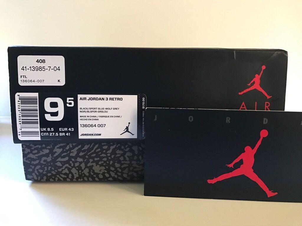 Nike Air Jordan III Retro 3 Cement Sport Blue 136064-007 DS Sz 9.5 NEW