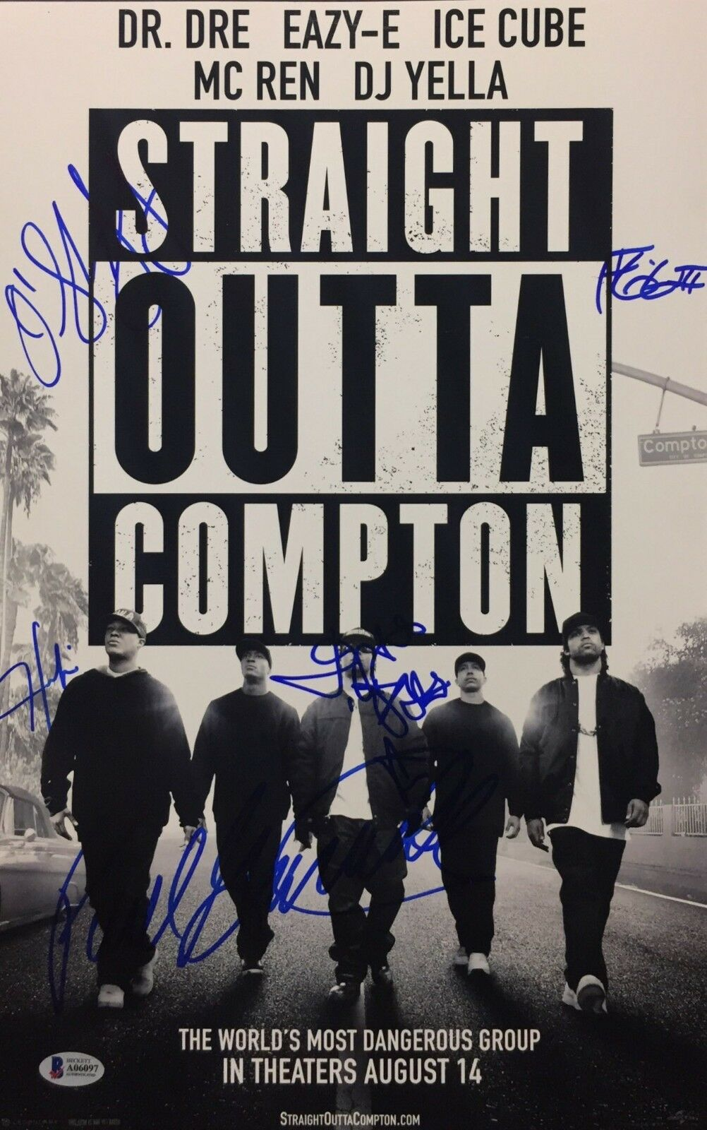 O'Shea Jackson Jr. Jason Mitchell Signed 'Straight Outta Compton 11x17 Photo BAS