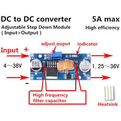DC-DC-Abwärtswandler 4V-38V auf 3,3V 12V 24V 5A Spannungsregler W oq