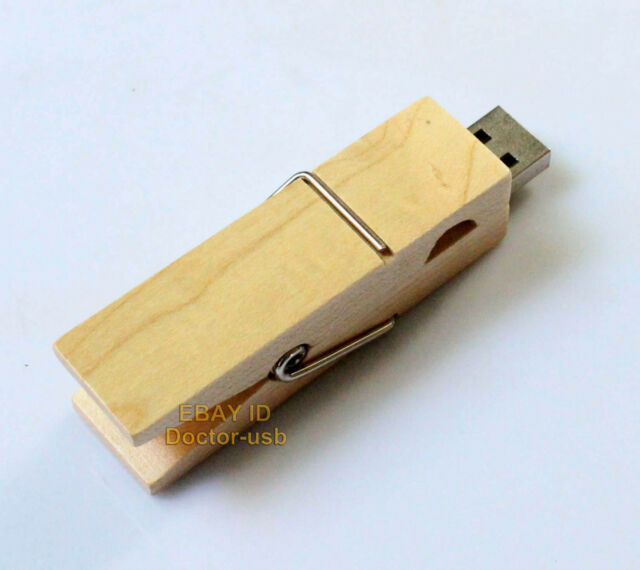 128MB-16GB Wooden Clamps USB2.0 Drive Fast Speed  Memory Flash Pendrive Sticks