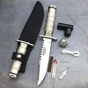 """8.5"""" SURVIVAL TACTICAL SERRATED HUNTING KNIFE w/ SHEATH Bowie Combat Fixed Blade"""