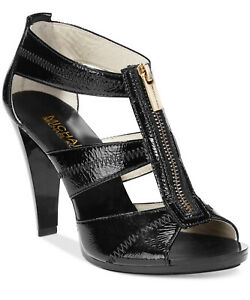 NIB-Size-6-Michael-Kors-Berkley-Black-TStrap-Zip-Crackled-Patent-Leather-Heels