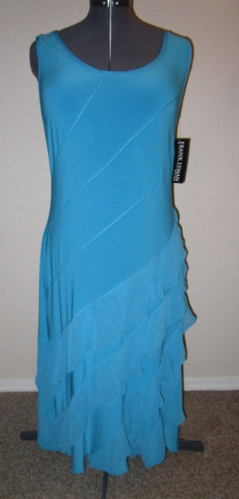 FRANK LYMAN NEW Turquoise Ruffled Sleeveless Dress damen Größe 16 US 18 UK NWT