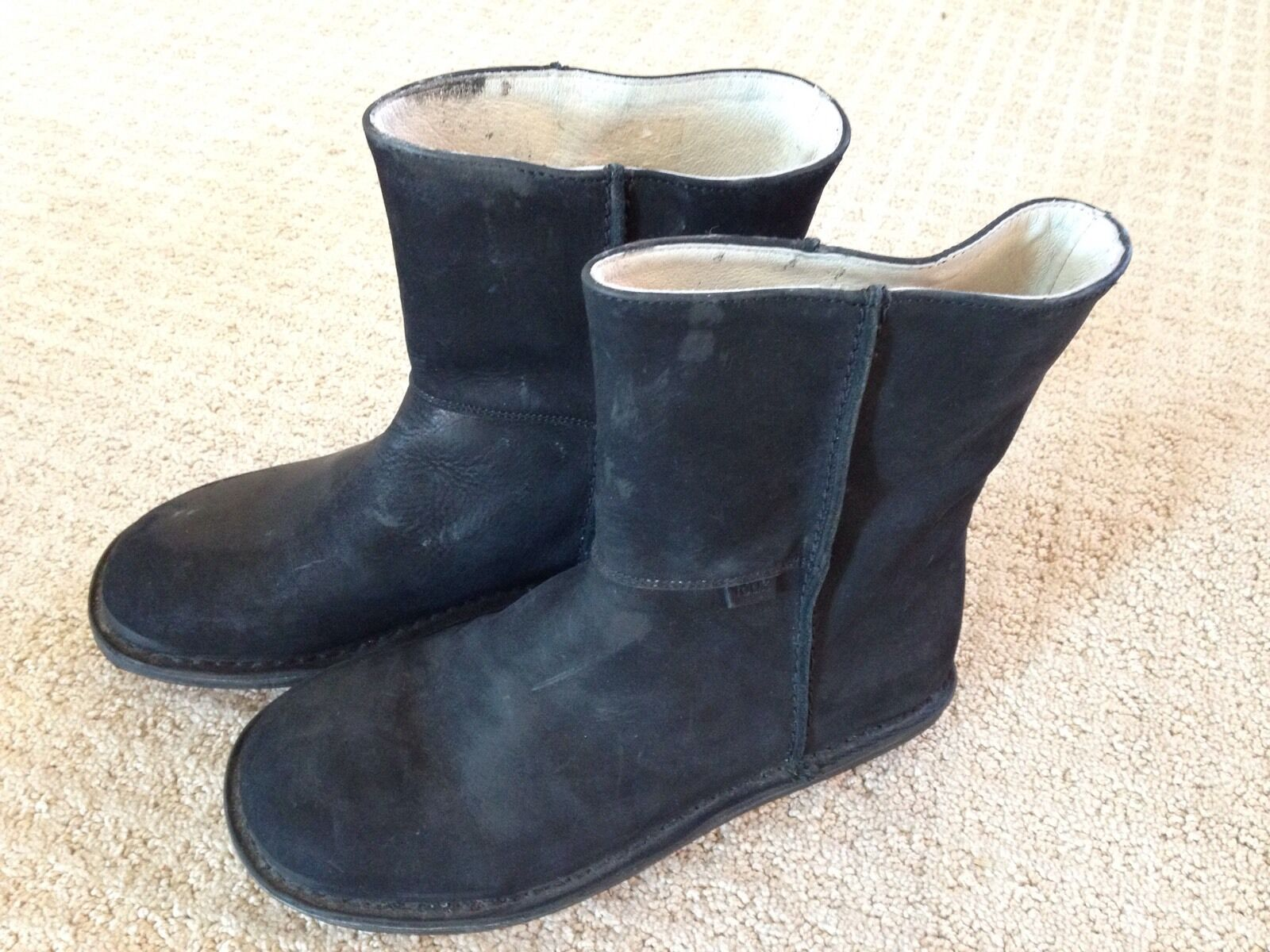 EUC Women's Black Leather Suede French Connection Ankle Boots-Size 6.5