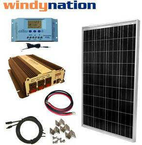COMPLETE-KIT-100-W-Watt-100W-Solar-Panel-1500W-Inverter-12V-RV-Boat-Off-Grid