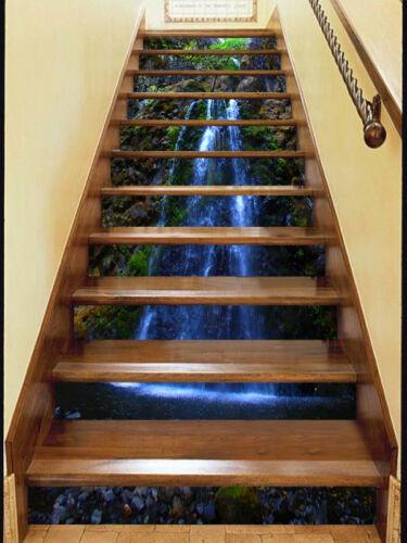 3D Waterfall 46 Stair Risers Decoration Photo Mural Vinyl Decal Wallpaper UK