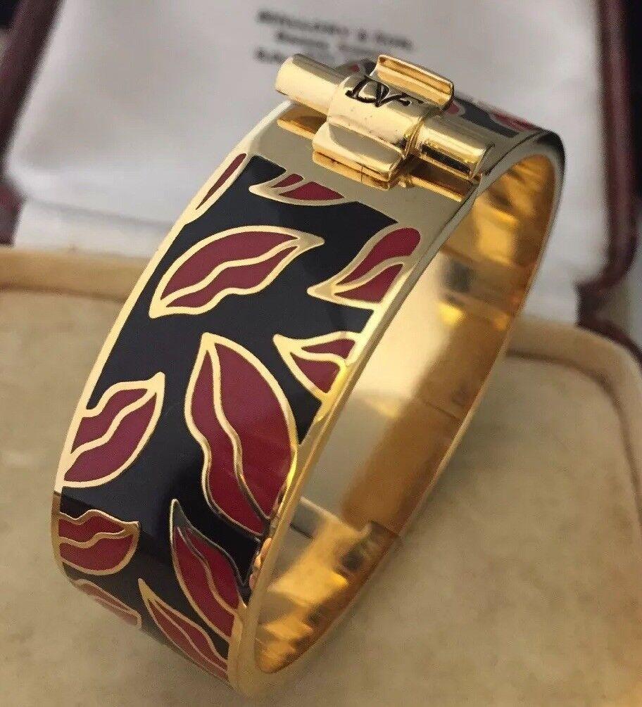 Designer Jewellery SUPER FIRMATO DVF Smalto Labbra apertura Clamper Braccialetto Braccialetto Braccialetto 751a08