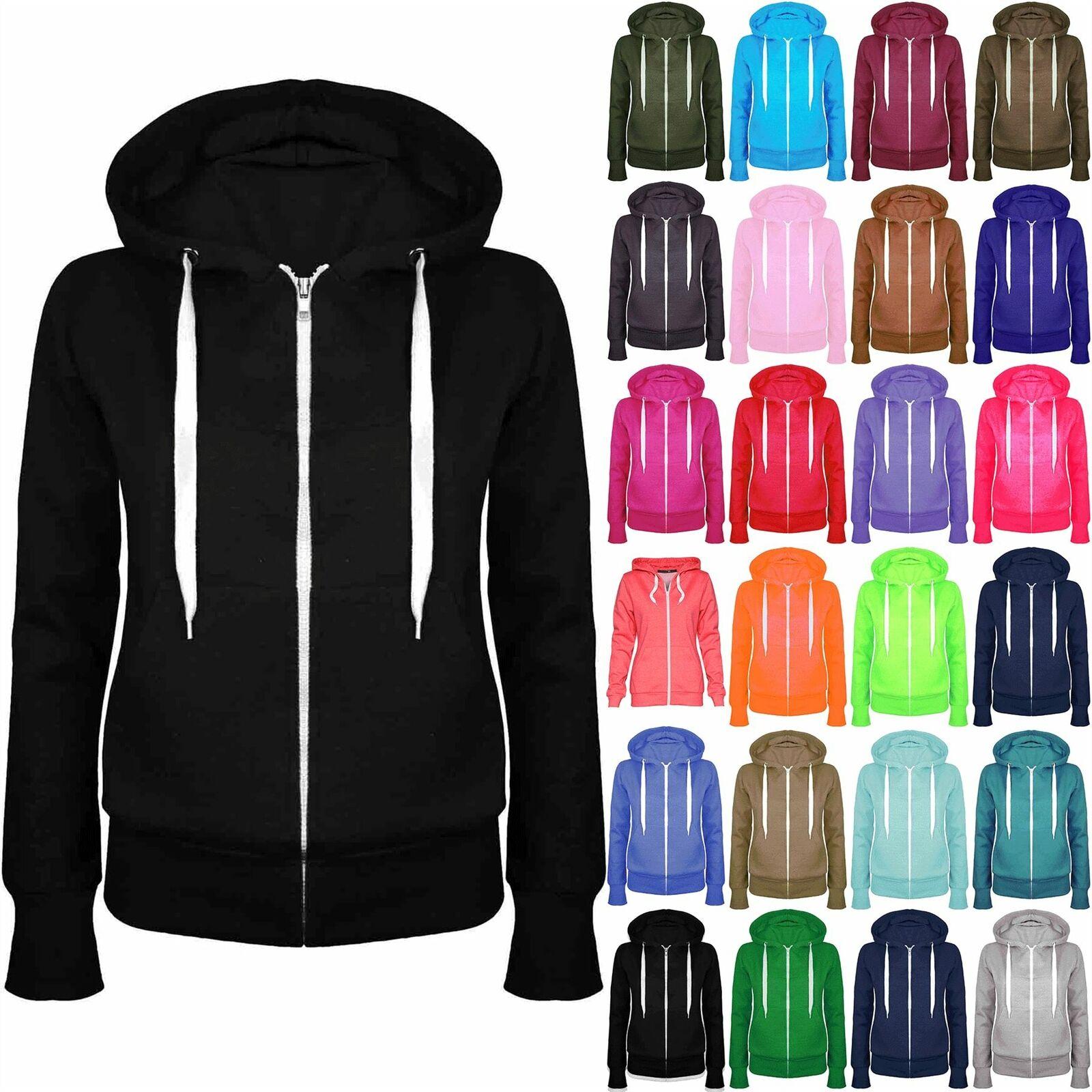 Womens Ladies Plain Fleece Hoody Zip Top Side Pockets Hoodies Sweatshirt Jacket