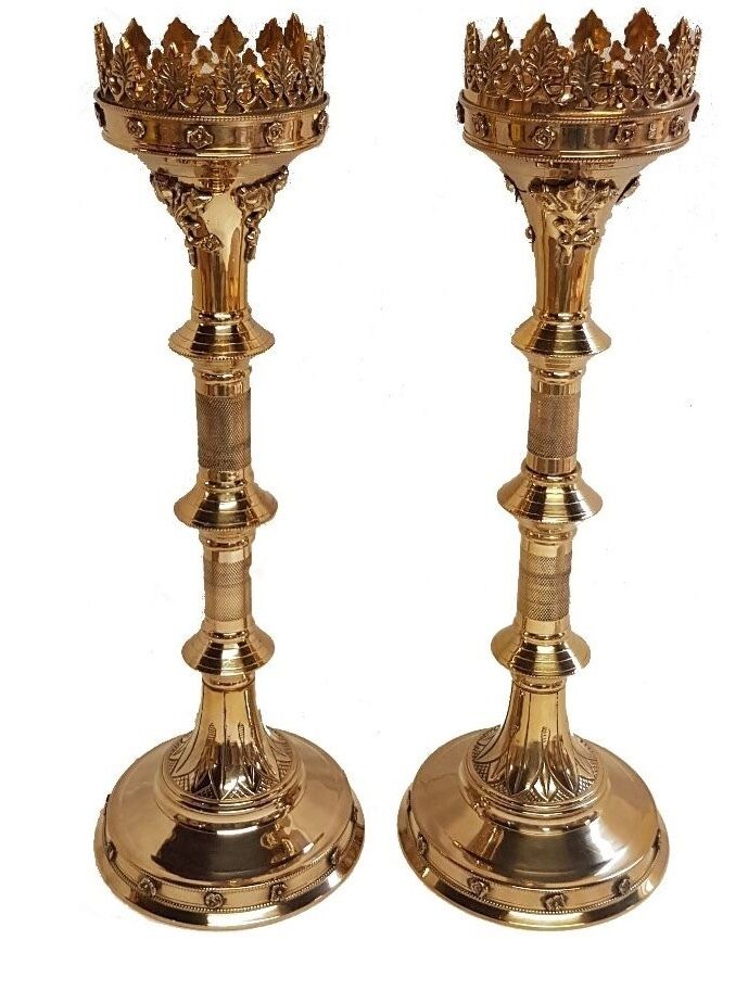 "Extra Large Pair Of Brass GOTHIC CandleSticks   Candle Holder 30""s Tall"