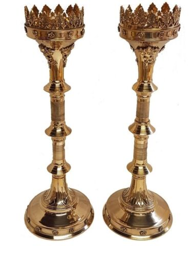 """Pair Of Brass GOTHIC CandleSticks Candle Holder ~ Church Candle Holder 19/"""""""