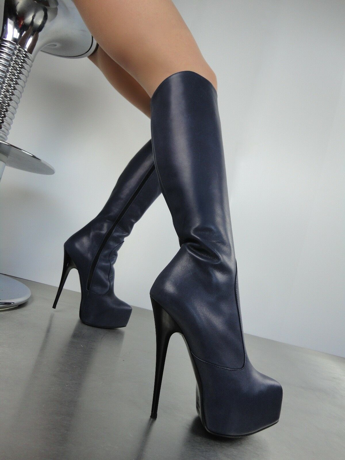 CQ COUTURE COUTURE COUTURE KNEE HIGH 3CM PLATFORM STIEFEL REAL LEATHER BLAU 45 e2f15e