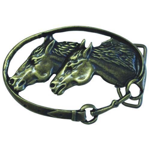 Gürtelschließe Zwei Pferdeköpfe 4,0 cm Reiten Halfter Trense Reiter Western