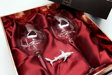 Swarovski Shark Ornament with Two Shark Wine Glasses! Rhodium Montana