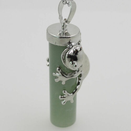 Natural Gemstones Silver Frog Holding a Cylinder Reiki Chakra Bead Pendant DIY