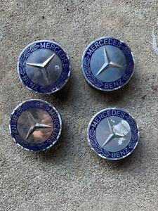 GENUINE OEM Set of 4 Mercedes Royal Blue Center Hub Cap for Alloy Wheel