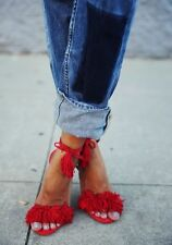 **AQUAZZURA** Wild Thing Fringed Suede Sandals Hees Shoes