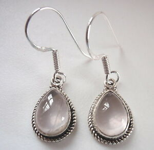 Rose-Quartz-Teardrop-with-Rope-Style-Accents-925-Sterling-Silver-Dangle-Earrings