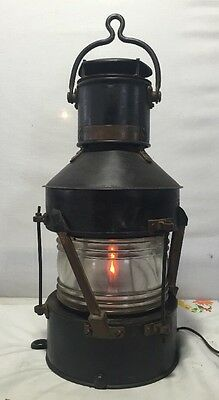 """Vintage Authentic Ships Lantern """" Not Under Command """" Circa: 1944? WWII"""