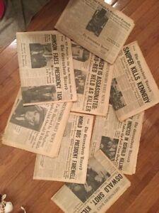 John-F-Kennedy-JFK-Daily-News-Assassination-newspapers-Nov-23-26-1963-vintage