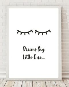 Nursery Bedroom Dream Big Cute Eyelashes A4 Poster Print PO210