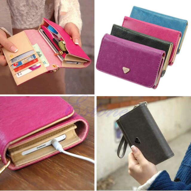 Envelope Card Wallet Faux Leather Purse Phone Cover Case For Samsung iPhone