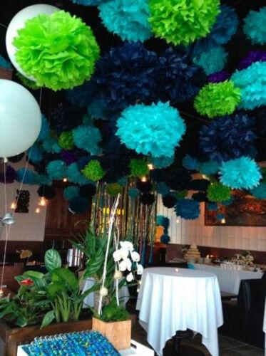 "15pc Pom Pom 4/"" 8/"" 12/"" Tissue Paper Color Flowers Wedding Party Craft Decoration"