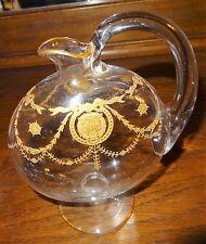 Ancienne carafe XIXe cristal émaillée or aux têtes de lion BACCARAT??