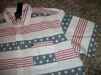 Quiksilver Mens Dress Shirt Button Up Down American Flag Usa Large