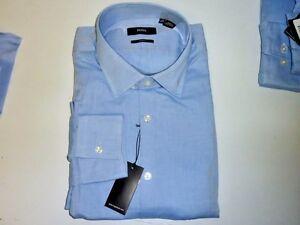 3afa0a551 New HUGO BOSS Slim Fit Casual Mens Dress Shirt Solid BLUE $125 ...