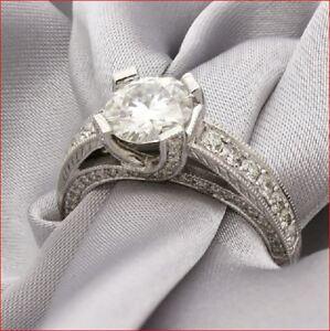 2 Ct Round Cut White Moissanite Wedding Engagement Ring Band Set 14k