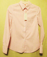 Isaac Mizrahi Jeans Womens Button Front Shirt/blouse,xs,pink/white Plaid,new+tag