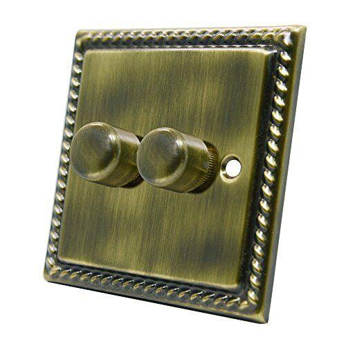 Georgian Antique Brass 2 Gang Dimmer 400W - 10 Amp Double 2-Gang 2 Way 400W Ligh