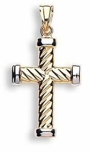 9ct-Yellow-Gold-amp-White-Holy-Cross-Shaped-Stripe-Modern-Hallmarked-Pendant-Gift