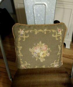 Vintage-Velvet-Handmade-Needlepoint-Throw-Pillow-Floral-Tan-11-034-Square