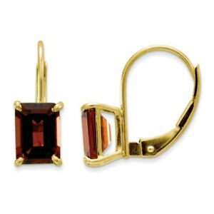 Real-14kt-Yellow-Gold-7x5mm-Emerald-Cut-Garnet-Leverback-Earrings