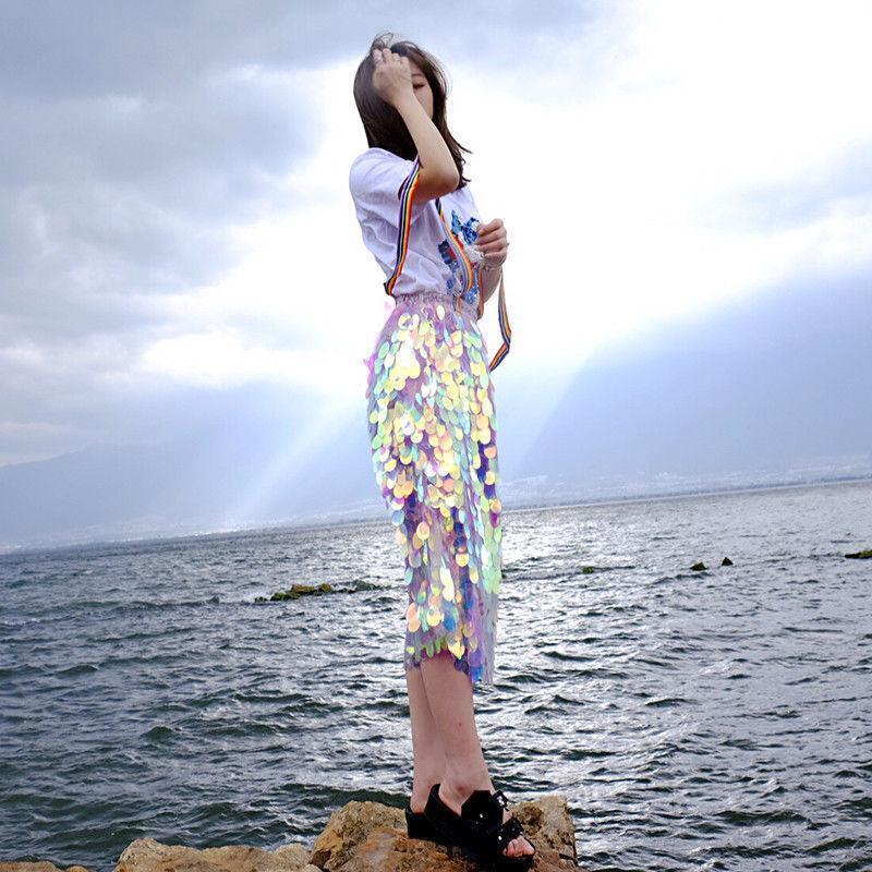 Lady Mermaid Iridescent Bodycon Overscale Sequins Pencil Midi Length Skirt Shiny