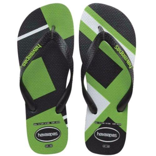 Havaianas Preto Green Neon Thongs 7-8 RRP $49.99 Size 37-38 Flip Flops NWT