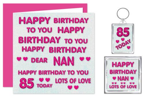 Chère Nan anniversaire à vous Ensemble Cadeau-carte porte-clé /& Aimant-Âges 50-100-Rose