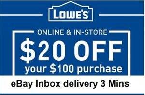 3x~~THREE Lowes $20 OFF $100Coupons-In
