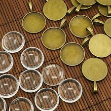 10Set Tibetan Style Clear Domed Glass Cabochon Cover Pendant Photo Insert Making