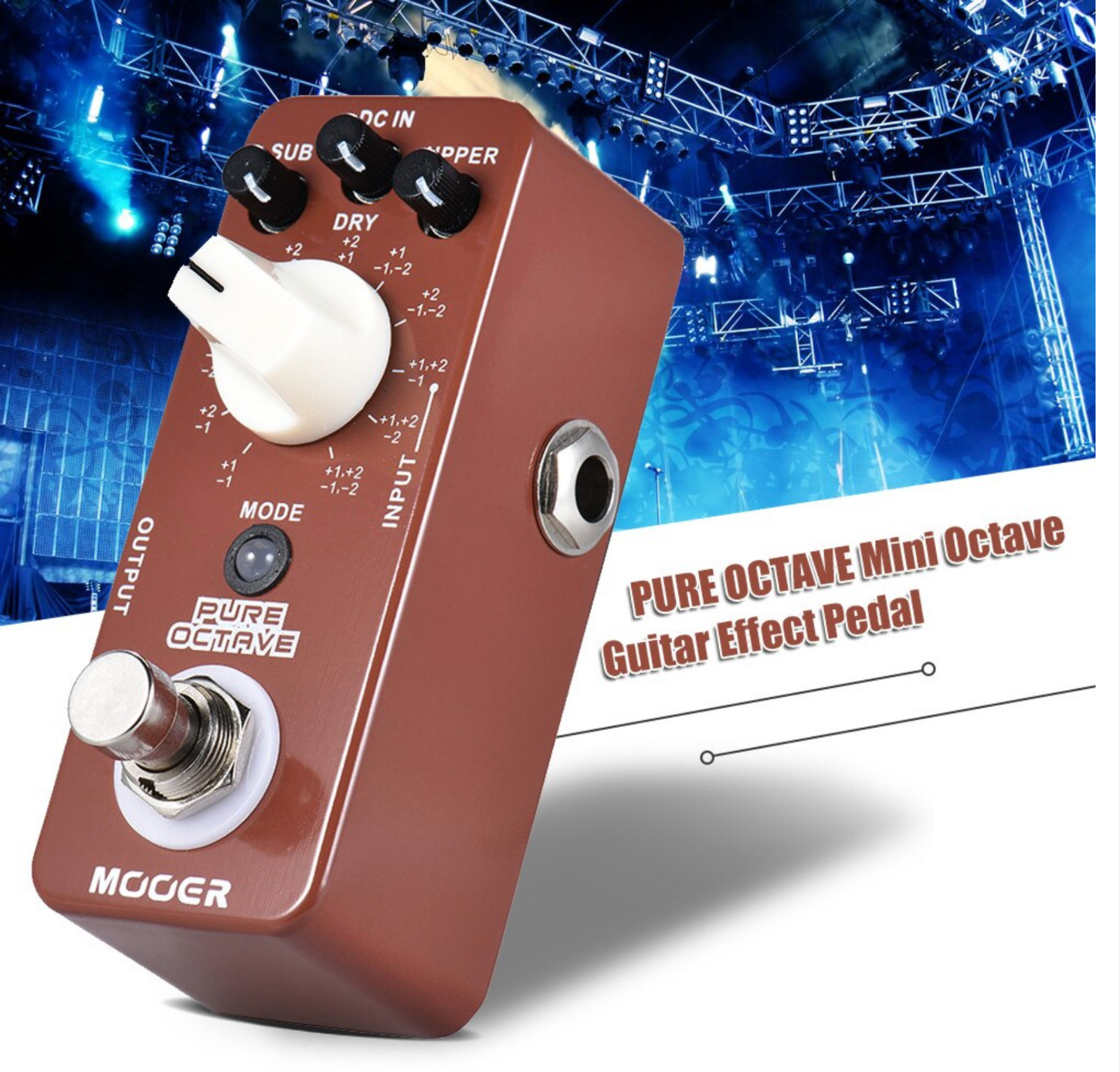MOOER PURE OCTAVE Mini Octave Guitar Effect Pedal 11 Octave Modes True Bypass
