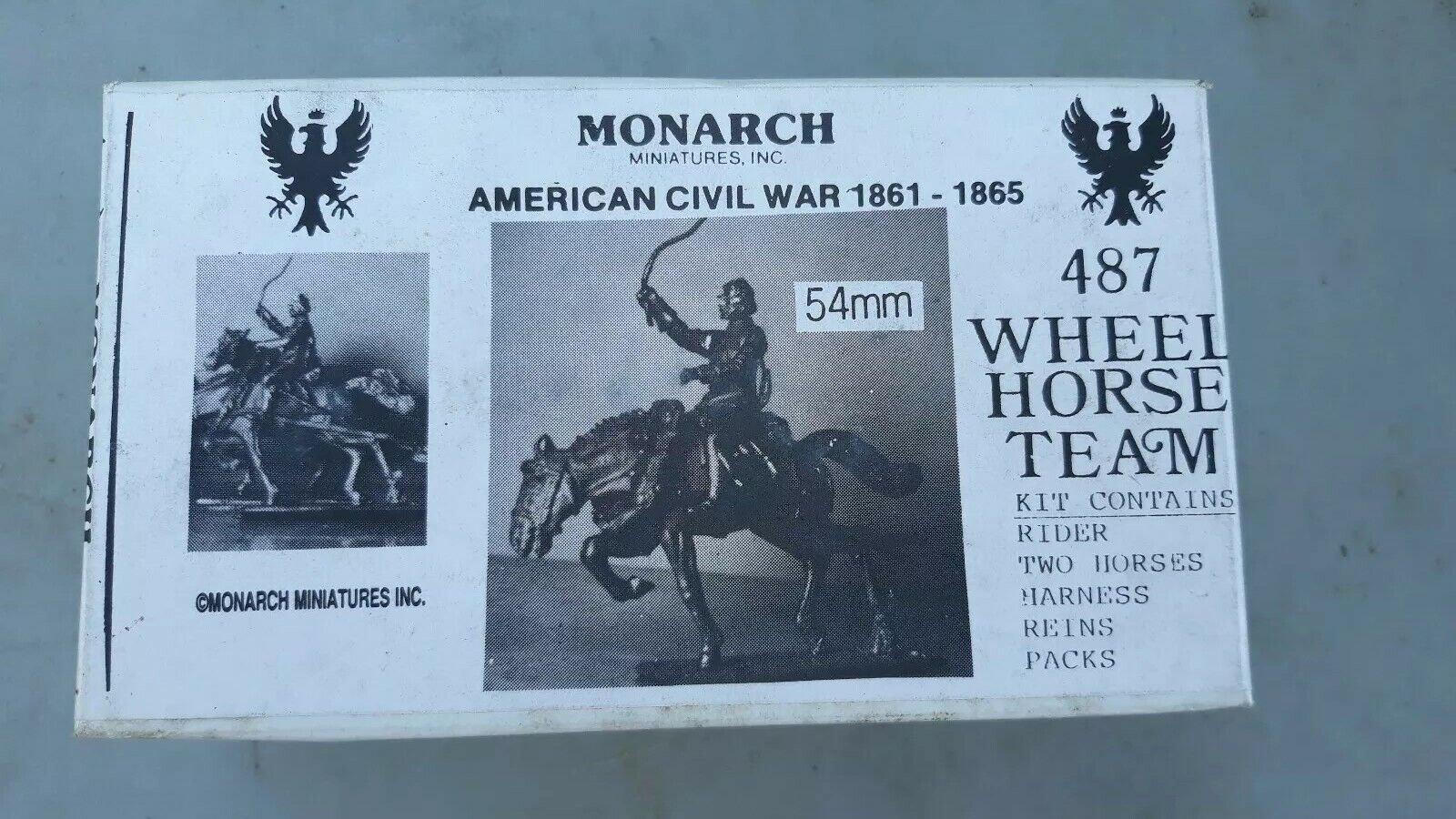 MONARCH MINIATURES mm Lead American Civil War Wheel Horse Team NIB