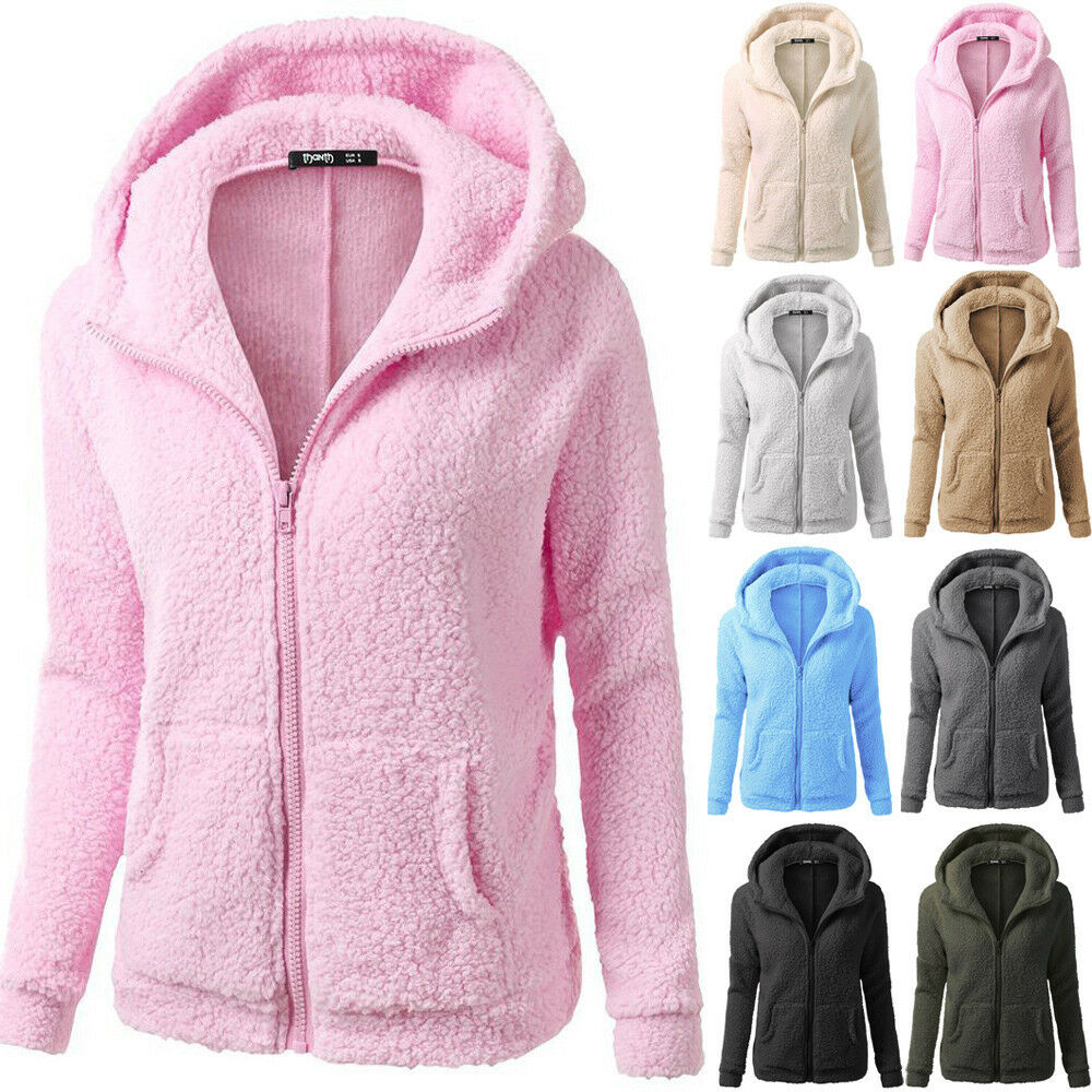 Fashion Women Solid Hooded Sweatshirt Hoodies Wool Coat Jacket Plus S-5XL