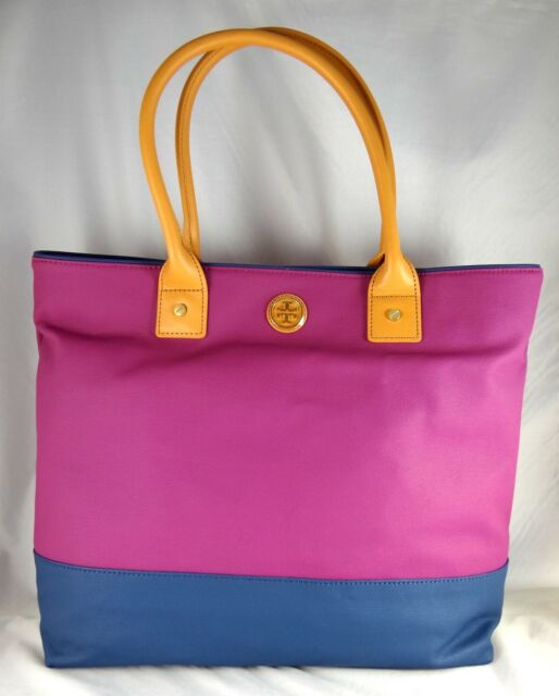 eb0a073861b Authentic Tory Burch Jaden Purple Navy Canvas Tote Bag for sale ...