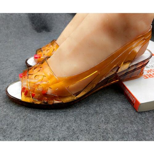 Ladies Jelly Wedge Low Heel Slingback Sandals Peep Toe Crystal Waterproof Shoes