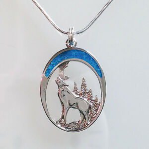 HOWLING-WOLF-Twilight-Moon-Turquoise-NECKLACE-Lobo-Lupo-Silver-Pendant-Jewelry